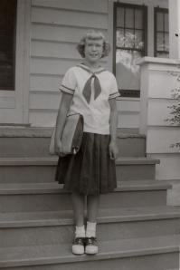 Schoolgirl Dee on Steps
